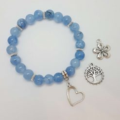 -Natural Amazonite & Rose Quartz Tibetan Silver Charm Bead Gemstone Stretch Bracelet | Birthday Christmas Mothers Mother's Day Valentine Anniversary Easter Jewellery Gift Ideas | Daisy Daisies Tree of Life Love Heart | Charming Gifts