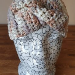 Crocheted patterned ear warmers...neutral coloured