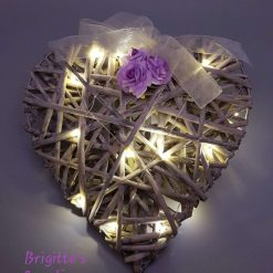 Woven Wicker Heart Shaped Wall Decoration With LED Lights