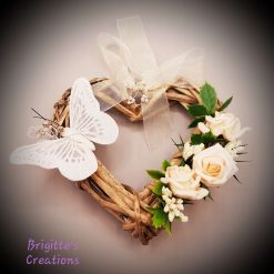Small Heart Shaped Wicker Wreath With Butterfly