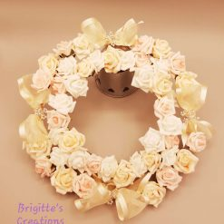 Round Flat Wreath Frame With Foam Roses And Silk Organza Ribbon
