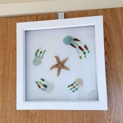 Rustic White Framed seaglass jellyfish and starfish