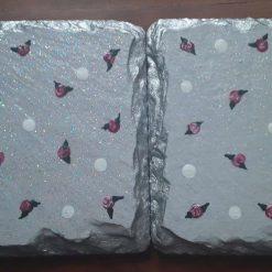 Hand painted slate coasters tiny roses and polka dots grey(Copy)