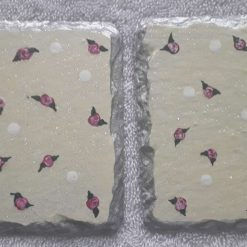 Hand painted slate coasters tiny roses and polka dots yellow(Copy)