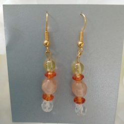 Orange, Lemon and Peach Coloured 5 Beaded Gold Colour Fishhook  Earrings