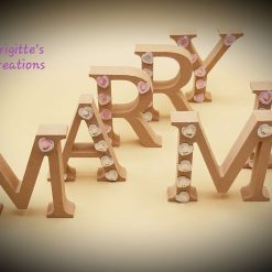 Decorated 3D MDF Wooden Letters with Acrylic Heart Shaped Rhinestones - MARRY ME