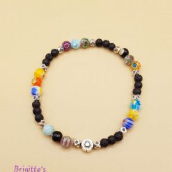 Stretchy Black Lava Stone, Millefiori Glass and Silver Alloy Spacer Beads Bracelet with Essential Oil