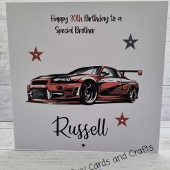 Personalised Handmade male card sports car