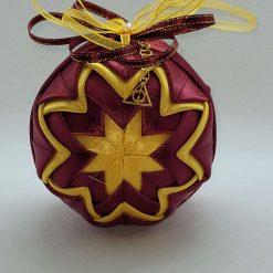 Burgundy/gold inspired hanging ornament