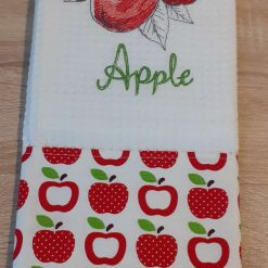 Pear Embroidered Cotton Tea Towel