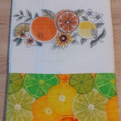Orange and Lemons Embroidered Cotton Tea Towel