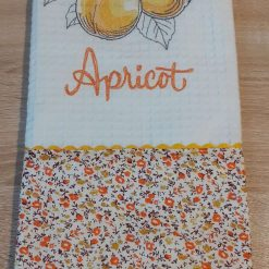 Apricot Embroidered Cotton Tea Towel