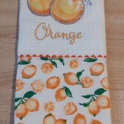 Orange Embroidered Cotton Tea Towel