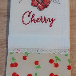 Cherry Embroidered Cotton Tea Towel