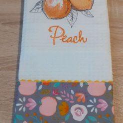 Peach Embroidered Cotton Tea Towel