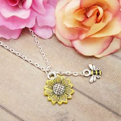 'Flower' Sunflower Necklace   Tibetan Silver Birthday Christmas Mothers Mother's Day Valentine Anniversary Easter Jewellery Gift Ideas   Charming Gifts