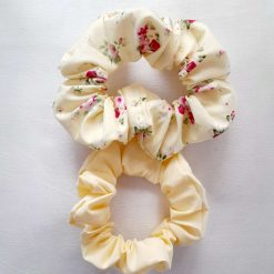 Hair scrunchies. Set of 2. Painted flowers and plain turquoise