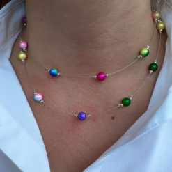 Rainbow Double Strand Necklace