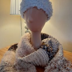 Brown and cream knitted scarf.