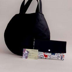 Black Leatherette Round Handbag with Matching Purse