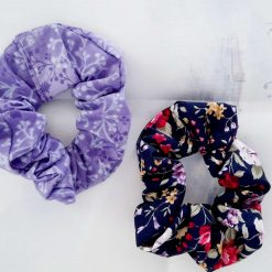 Hair scrunchies. Set of 2.  Lilac leave and vintage flowers