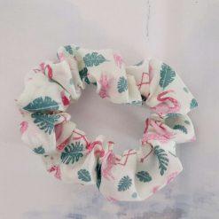 Hair scrunchie. Pink flamingos print.