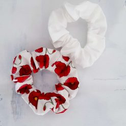 Hair scrunchies. Set of 2.  Pretty red poppies and plain ivory.