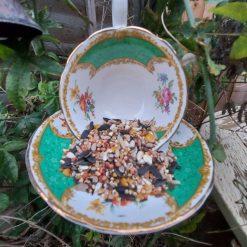 """Vintage teacup bird feeder """"Hattie"""" 6"""