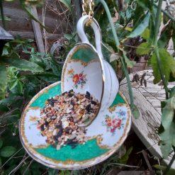 """Vintage teacup bird feeder """"Hattie"""" 4"""