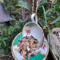 """Vintage teacup bird feeder """"Hattie"""" 3"""