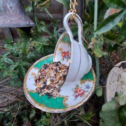 """Vintage teacup bird feeder """"Hattie"""" 2"""