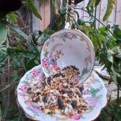 "Vintage teacup bird feeder ""Harriet"" 5"