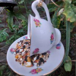 "Vintage teacup bird feeder ""Betty"" 2"