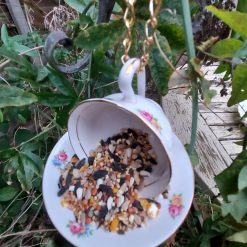 "Vintage teacup bird feeder ""Betty"" 3"