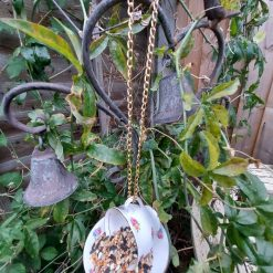 "Vintage teacup bird feeder ""Betty"" 4"
