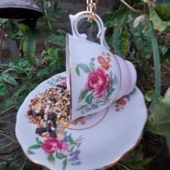 "Vintage teacup bird feeder ""Connie"" 5"