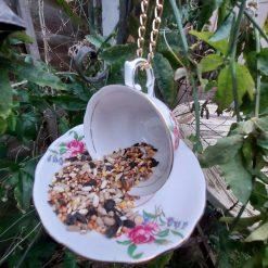 "Vintage teacup bird feeder ""Connie"" 4"