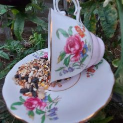 "Vintage teacup bird feeder ""Connie"" 2"