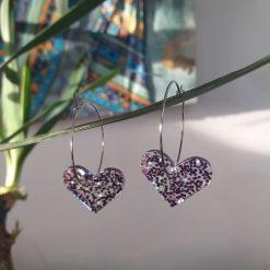 Purple Sparkling Resin Hearts