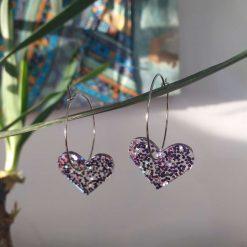Purple Sparkling Resin Hearts