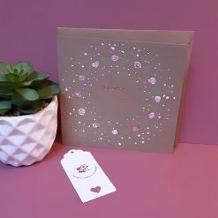 Hand painted 'Dearest Mum' card with roses design.