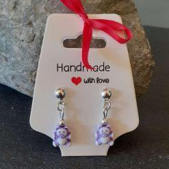 Purple Teddy Dangle Earrings