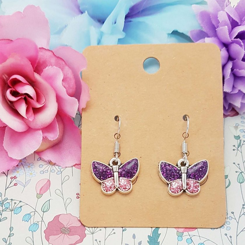 'Insect' Butterfly Purple Tibetan Silver Earrings | Butterflies Birthday Christmas Mothers Mother's Day Valentine Anniversary Easter Jewellery Lavender Gift Ideas | Charming Gifts