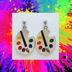 -Individually Priced- Artist Paint Pallet Necklace, Earrings Jewellery   Tibetan Silver Charm Birthday Christmas Mothers Mother's Day Valentine Anniversary Easter Gift Set Ideas   Charming Gifts 2