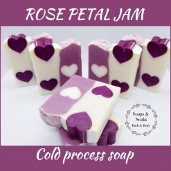 Handmade Artisan ROSE PETAL JAM cold process soap, free postage uk ,CPSR, Cruelty free , Vegan friendly