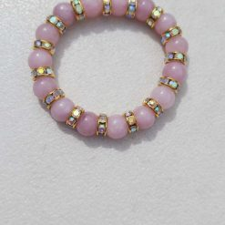 Kunzite stretchy bracelet with gold &  coated crystal rondelle spacers (child size)