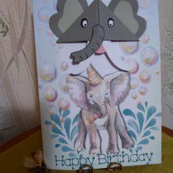 Corner Bookmark Animal Birthday Card - Elephant
