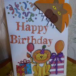 Corner Bookmark Animal Birthday Card - Lion