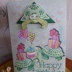 Corner Bookmark Animal Birthday Card - Tortoise