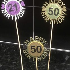 Hand Made Any Age Any Colour Happy Birthday Cake Toppers 2 Pk